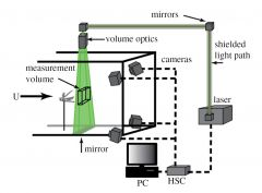 Experimental wind tunnel setup showing the position of tethered locusts, camera position and orientation, beam delivery and the illumination volume