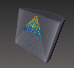 Strain visualization of a stable crack in a chevron notch test specimen.
